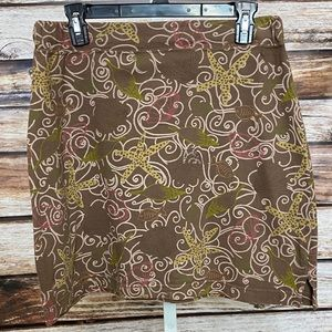 Fresh Produce Brown Starfish Shells Print Skirt Sm